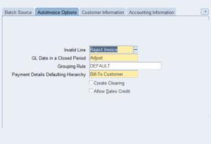 Transaction Source Auto Invoice Options