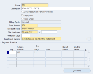 Oracle Account Receivable AR Payment Terms
