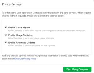 MongoDB Compass Privacy Settings