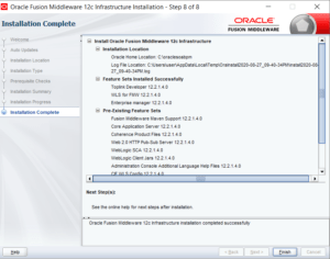 Fusion Middleware Infrastructure installation completed