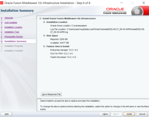 Fusion Middleware Infrastructure installation summary