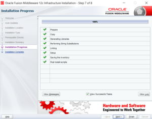 Fusion Middleware Infrastructure installation progress