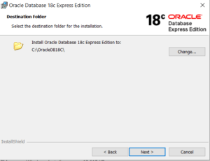 Oracle XE 18c Database Install Path