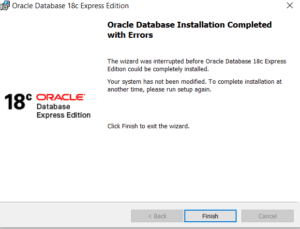 Oracle XE 18c Database Installation completed