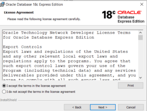 Oracle XE 18c Database License Agreement