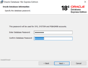 Oracle XE 18c Database system password