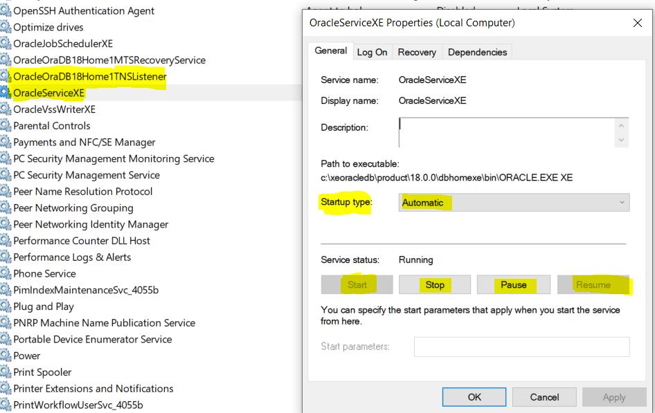 Start Oracle Database Listener in Windows
