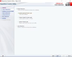 SOA12c RCU Repository Creation Screen