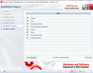 SOA12c installation progress