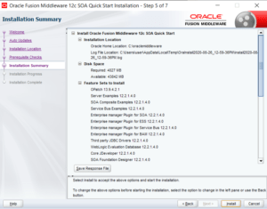 SOA12c installation summary