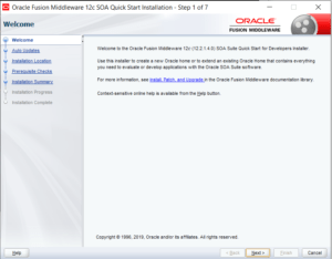 SOA 12c quickstart installation welcome screen