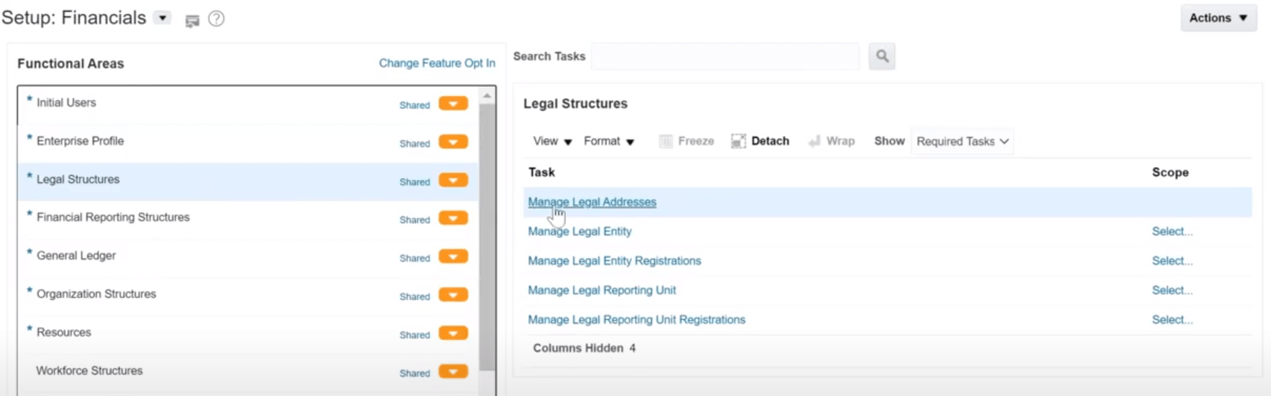Oracle Cloud Manage Legal Addresses
