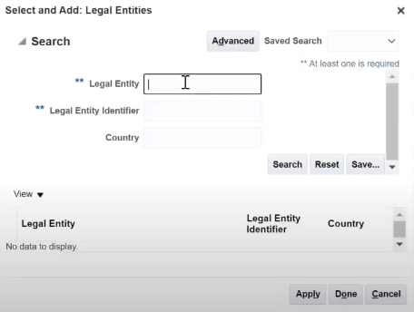 Oracle Fusion Add Legal Entities